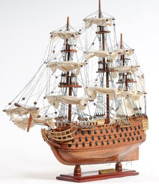 Lord Nelson ' S Flagship Hms Victory Wooden Scale Model Tall Ship 21