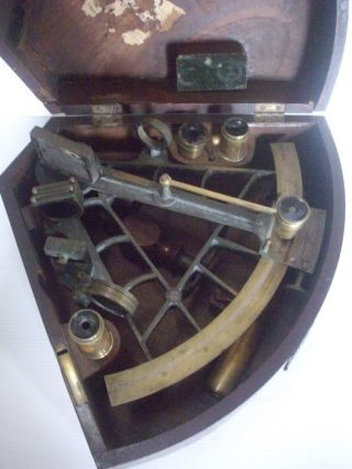 Antique Brass Sextant Kleman & Zoon No.  140 With Wooden Box - Amsterdam photo