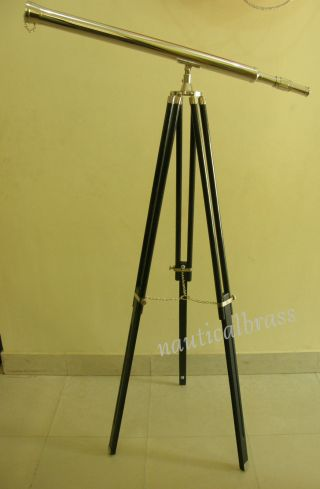 Chrome Floor Telescope With Tripod Stand Nautical - Pirate photo