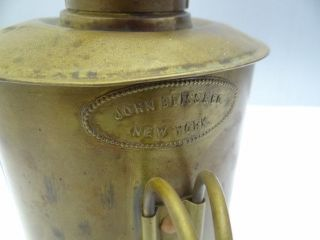 Antique Old Metal Brass John Bliss & Co New York Nautical Hand Lantern Lamp photo