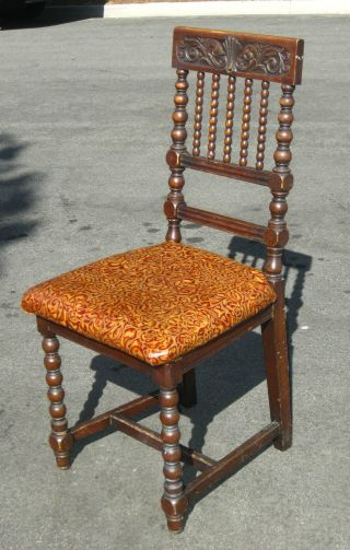 Antique Spanish Revival Carved Accent Chair Floral Embossed Leather Burnt Orange photo