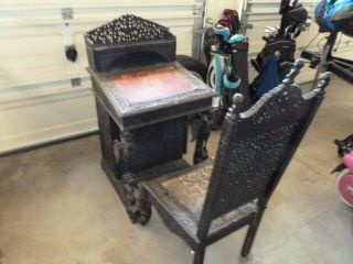 Antique Gothic Desk And Chair photo