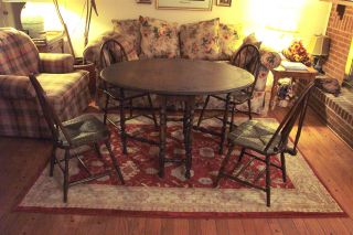 Antique Oval Gate Leg Table With Four Chairs photo