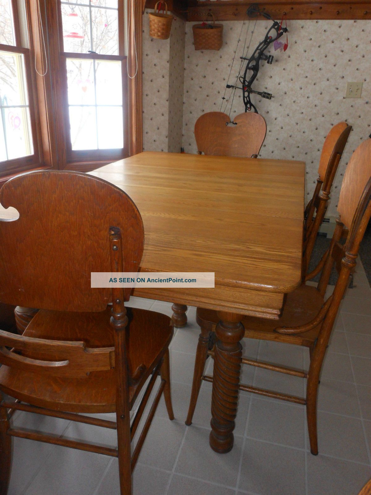 Antique Dining Table Chairs Set 6 Ft.  Country Farmhouse Solid Wood Unknown photo