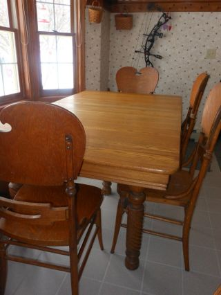 Antique Dining Table Chairs Set 6 Ft.  Country Farmhouse Solid Wood photo