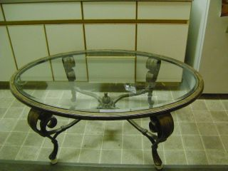 Antique Table Coffee Dining Persian 19th Century Mid East Beveled Glass Steel photo
