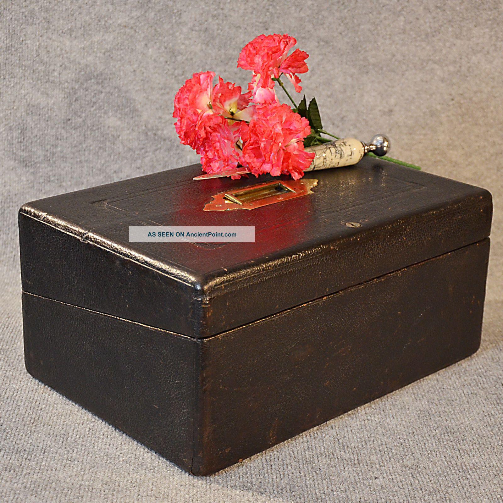 Antique Writing Slope Quality Leather Bound Stationery Box London England C1880 1800-1899 photo