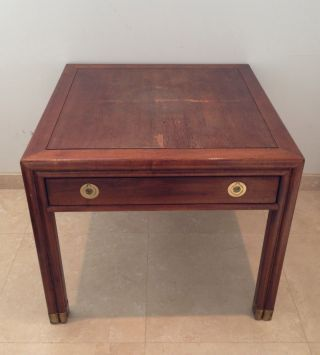Henredon Side Table With Metal Accents.  Great Piece Of Fine Furniture. photo