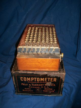 Antique Comptometer Wood Cased Model 1896 - 1903 + Case,  Felt & Tarrant photo