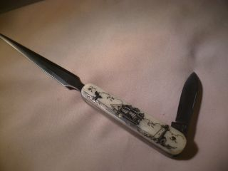 Scrimshaw Letter Opener Knife Side Ship - Whale Tail - Lighthouse photo