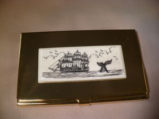 Business Card Holder - Cow Bone - Side Ship - Whale Tail photo