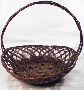 Antique Sewing Yarn Basket Brown Wicker Handle Open Weave Late Victorian photo