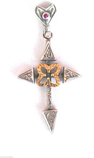 Byzantine Cross Antique Style Sterling Silver photo