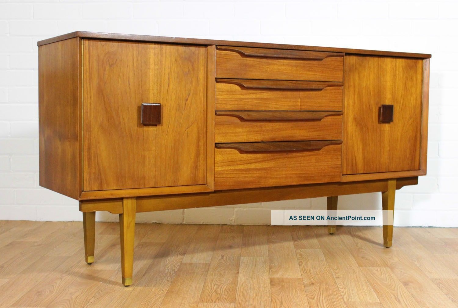 Mid Century Danish Inspired Teak Credenza/ Buffet/ Tv Console In The Kofod Style Post-1950 photo