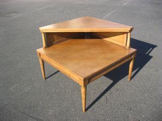 Vintage Mid - Century Modern Wood Corner Coffee Table W Danish Style Peg Legs End photo