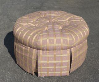 Vintage Mid - Century Lavender Tufted Ottoman Bench W Light Green Stripes Lazyboy photo