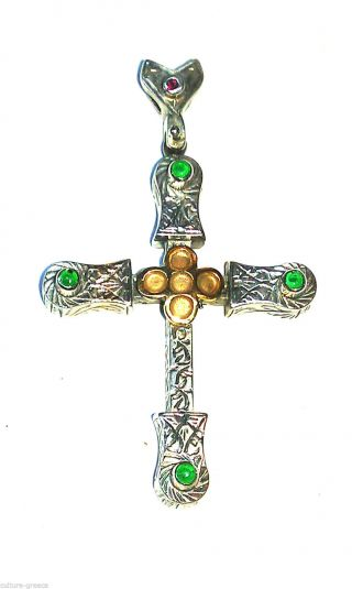 Medieval Solid Sterling Silver - Byzantine Cross Pendant With Zircon photo