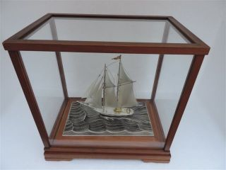 Signed Japanese Two Masted Sterling Silver 960 Model Ship By Seki Takehiko Japan photo
