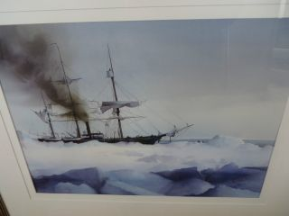 Robert Spring B.  1938 Watercolor Ship In Polar Ice photo