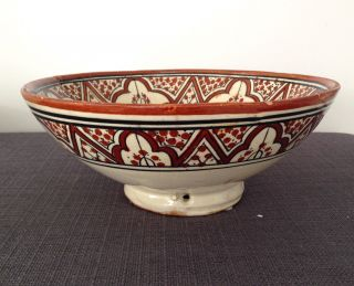 Antique Signed Safi Morocco Art Pottery Bowl Dish Islamic Middle East C.  1900 - 20 photo