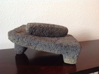 Antique Lava Rock ' Metate ' Grinding Stone,  Grinding Slab,  Milling Stone W/pestle photo
