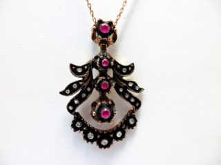 Rose Cut Diamond And Red Quartz Authentic Ottoman Turkish Jewelry Pendant photo