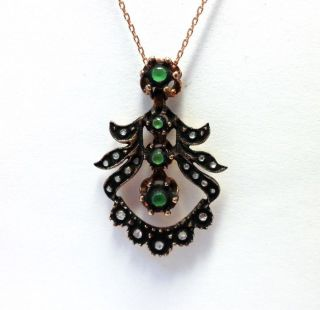 Rose Cut Diamond And Green Quartz Authentic Ottoman Turkish Jewelry Pendant photo