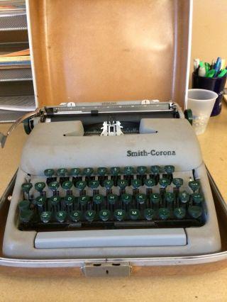 Rare Green Old Vintage Antique Smith Corona Skyriter Portable Typewriter & Case photo
