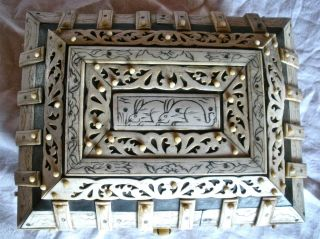 Very Old Wood Inlay Vizagapatam East India Jewelry Box Two Rabbits photo