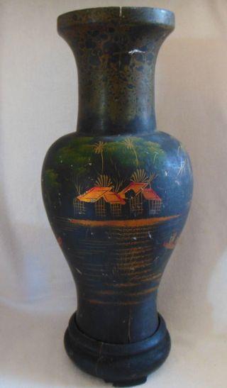 19thc.  Japanese Hp Fishing Village Scene Gilded Black Enamel Wood Vase 15