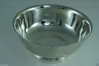 Silver Plate Brass Footed Salad/mixing Bowl Gorham photo
