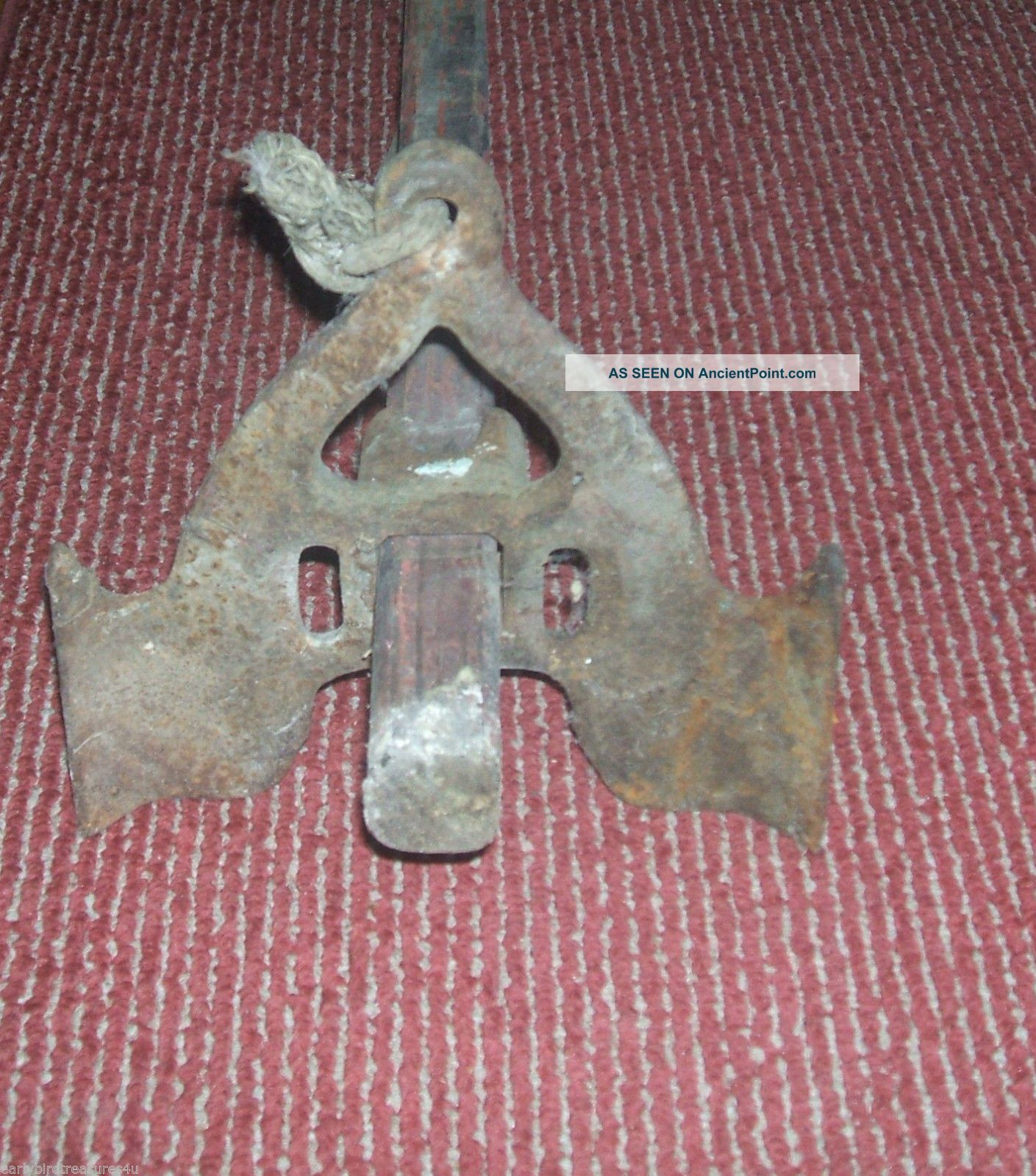 Vintage Old Boat Anchor 8462a (metal Part) Wooden Handle Bolts Fishing Anchors photo