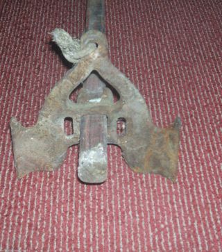 Vintage Old Boat Anchor 8462a (metal Part) Wooden Handle Bolts Fishing photo