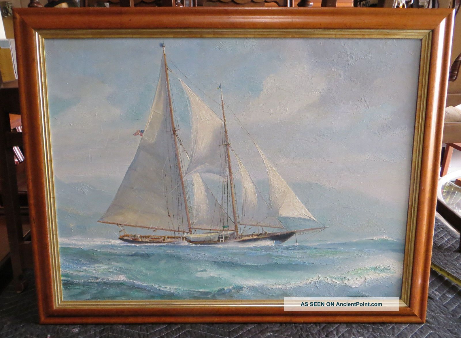 Large Fine Nautical Oil Painting By James A Mitchell In Birdseye Maple Frame Other photo