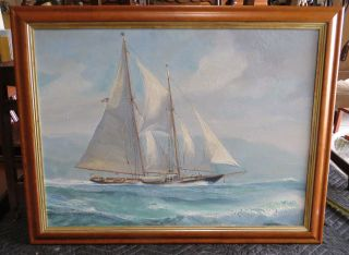 Large Fine Nautical Oil Painting By James A Mitchell In Birdseye Maple Frame photo