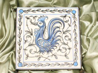 Vintage 2 Piece Rooster Tile W/iron Trivet M/i Portugal Blue Wht Outeiro Agueda photo