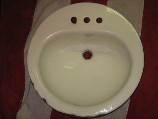 Porcelain Cast Iron Bathroom Sink White 18x8x7