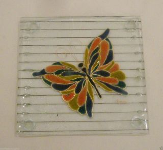Butterfly Stained Glass Trivet Signed -