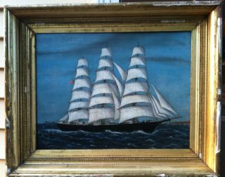 Antique American Flaged 3 Masted Schooner Rum Runner Quality Oil On Canvas photo