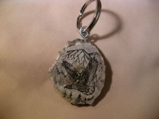 Scrimshaw Deer Antler Crown Keyring - Soaring Eagle photo