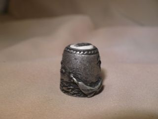 Scrimshaw Cow Bone - Pewter Thimble Side Ship photo
