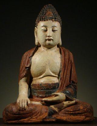 Buddha: Antique Chinese Shakyamuni Bhumisparsa,  Carved,  Polychromed Wood 1800 ' S, photo