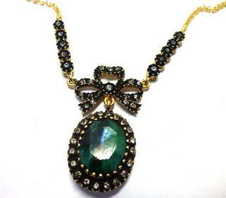 Turkish Jewelry Authentic Ottoman Sultans Emerald & Zirconia Necklace photo