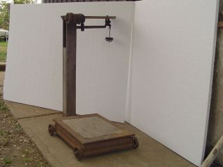 Lpu Vintage Rustic Platform Feed Scale W Weights Farm Grain Mill Wheels Works photo