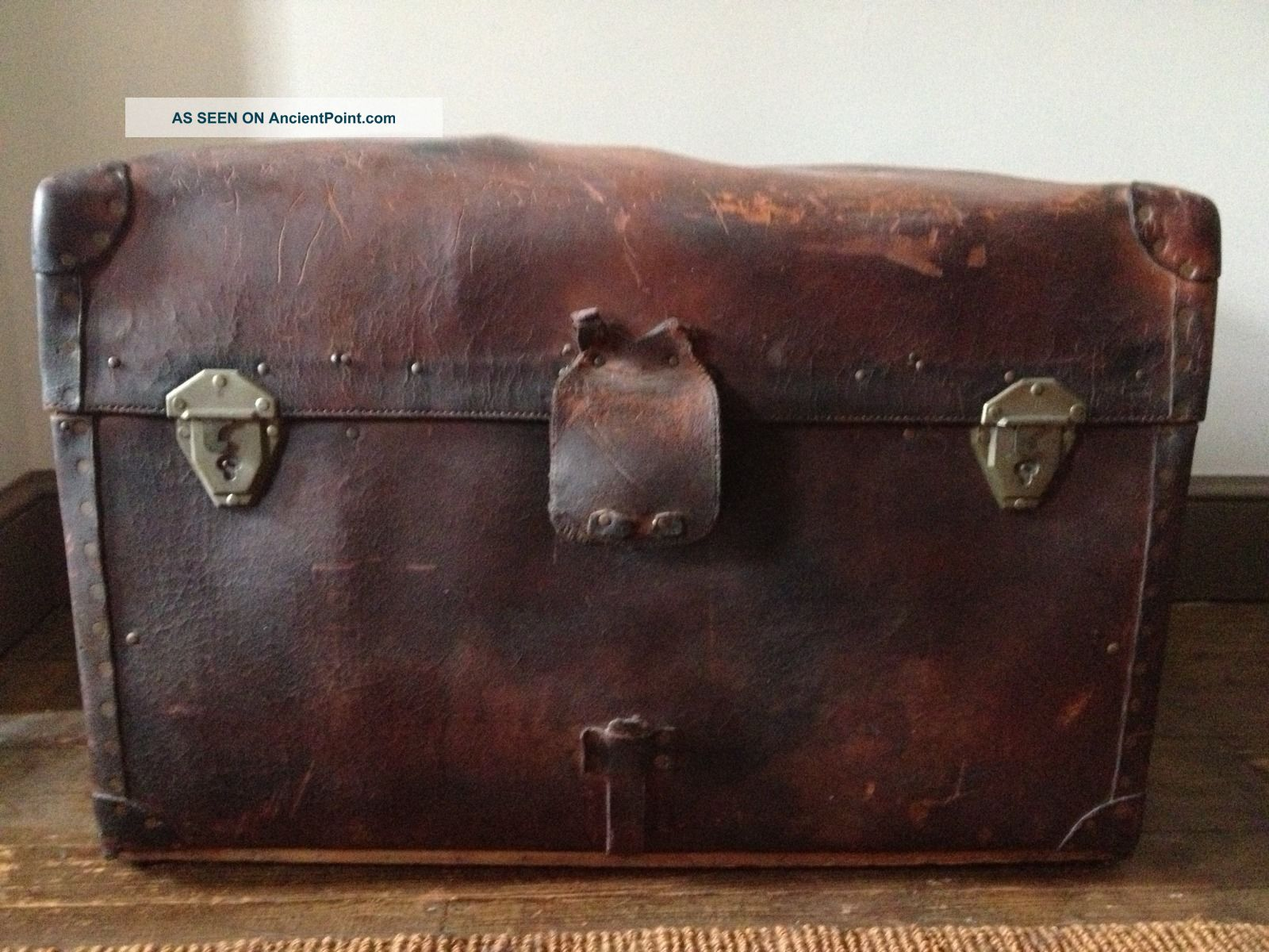 Antique Leather Steamer Trunk Geo.  B.  Bains Philadelphia 1800-1899 photo