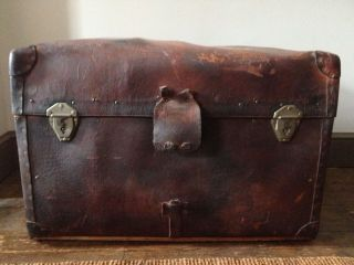Antique Leather Steamer Trunk Geo.  B.  Bains Philadelphia photo