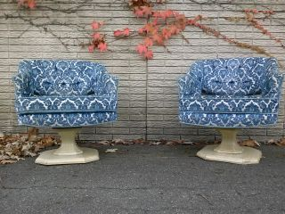 Vintage Pair Side Chairs Brocade Fabric Swivel Tufted Draper Haines Baker Era photo