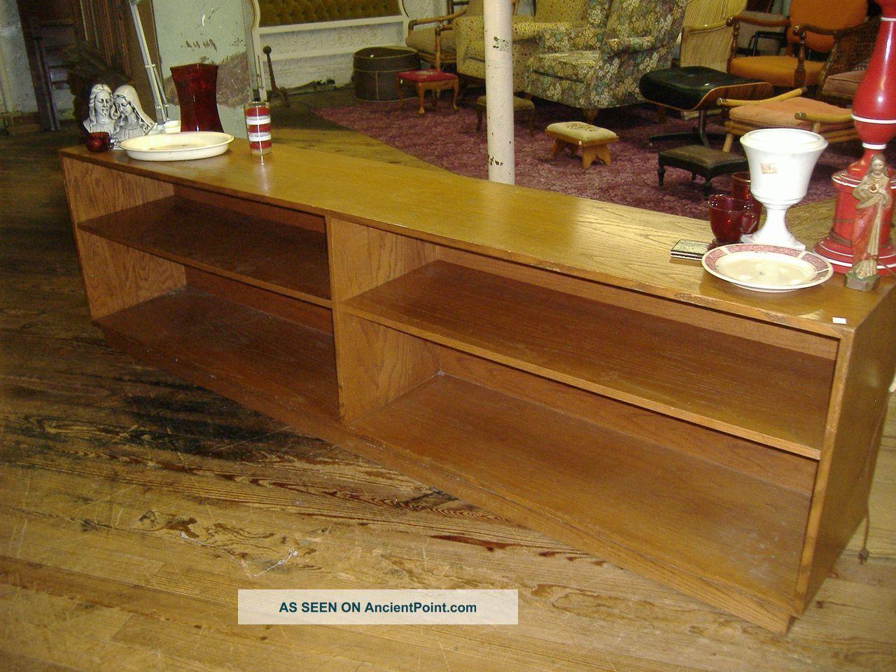 Modern Cabinet Buffet Credenza Vintage Oak Shelf Flat Screen Tv Stand Post-1950 photo