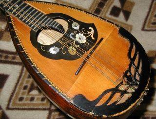 Wonderful Antique Bowlback Mandolin - Plays & Sounds Great - Highly Decorated photo