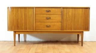 Tambour Door Mid Century Credenza/buffet/dresser By Austinsuite.  Retro.  Mcm photo